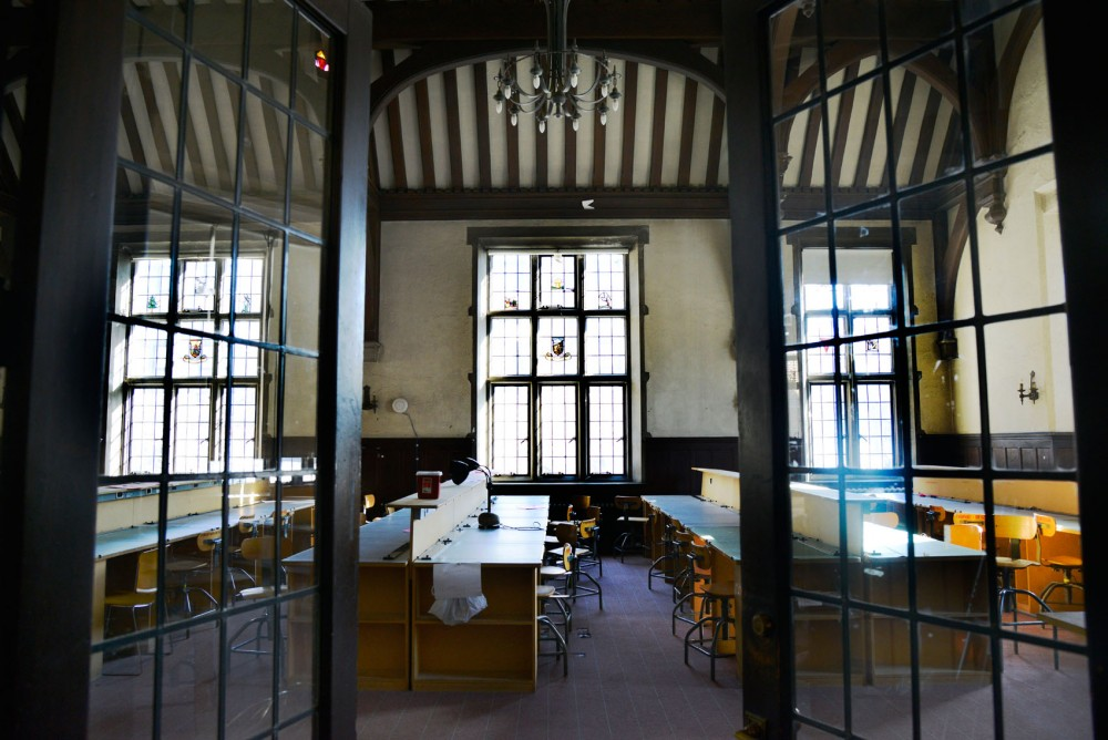The Center for Sustainable Building Research, located on the corner of University Avenue Southeast and 15th Street Southeast, is equipped with design tables and desks for students to work on architecture assignments.