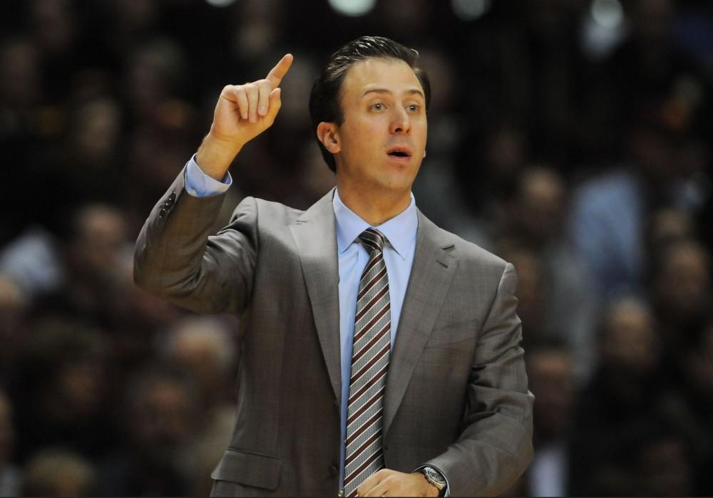 Minnesota head basketball coach Richard Pitino calls to his players on Tuesday, Dec. 3, 2013.