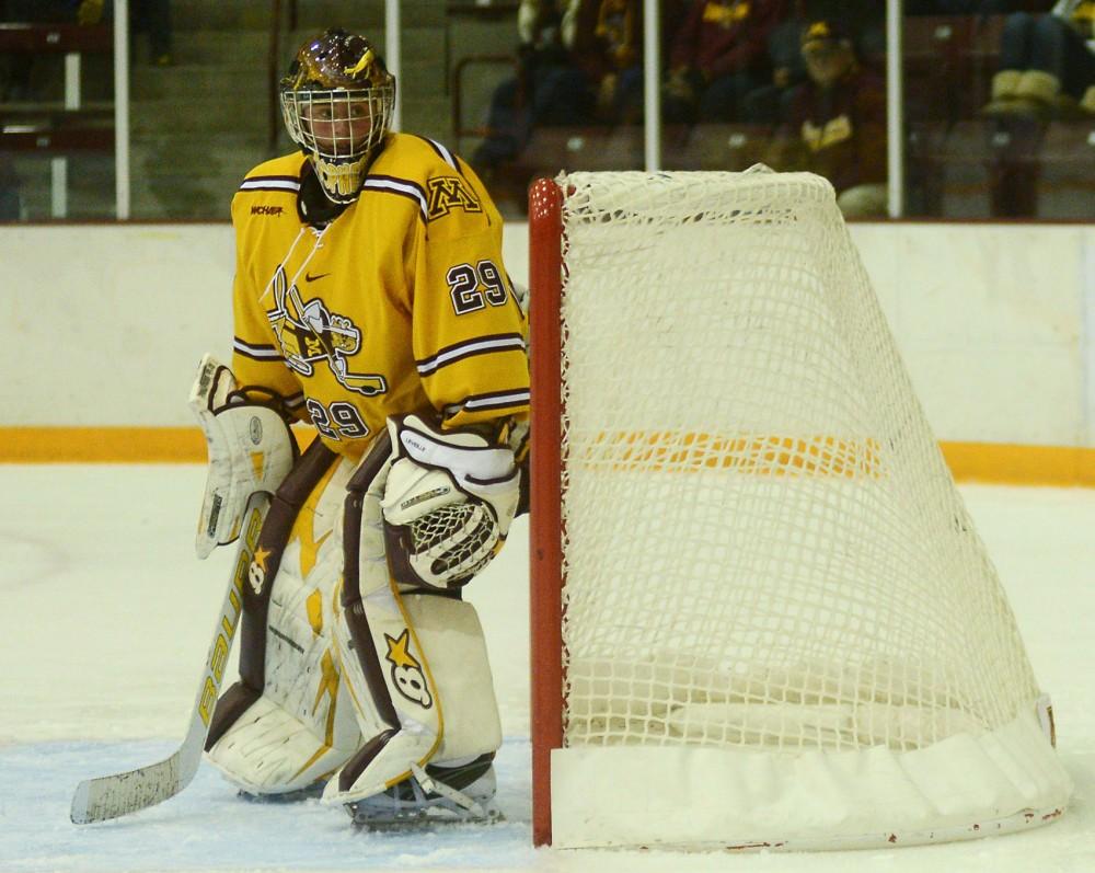 Gophers goaltender Amanda Leveille stands in the crease on Friday, Nov. 1, 2013.