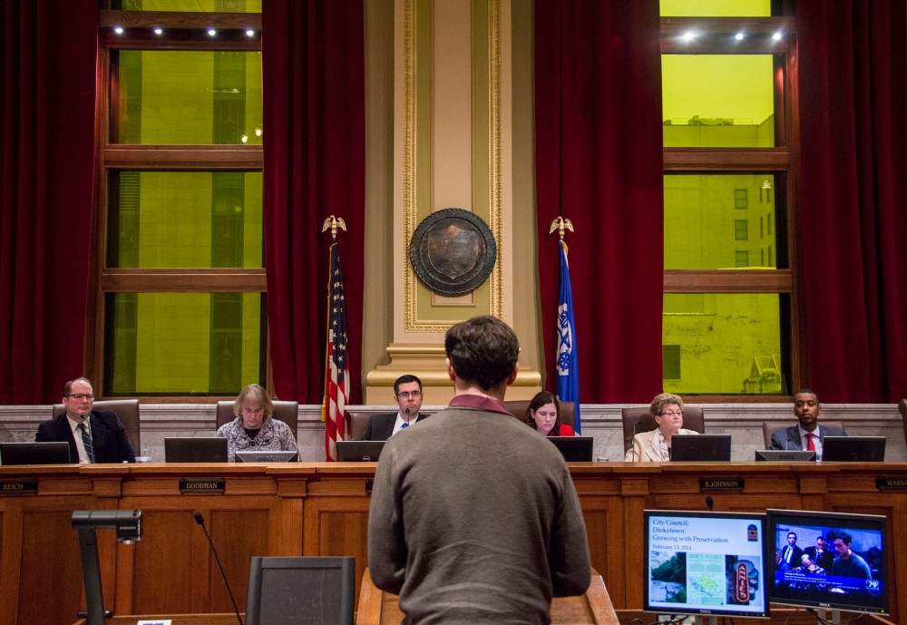 The Minneapolis Zoning and Planning Committee meets with the public Thursday at Minneapolis City Hall. The Committee mets to evaluate the historic value of three Dinkytown buildings that stand where Doran Companies hopes to build a hotel.