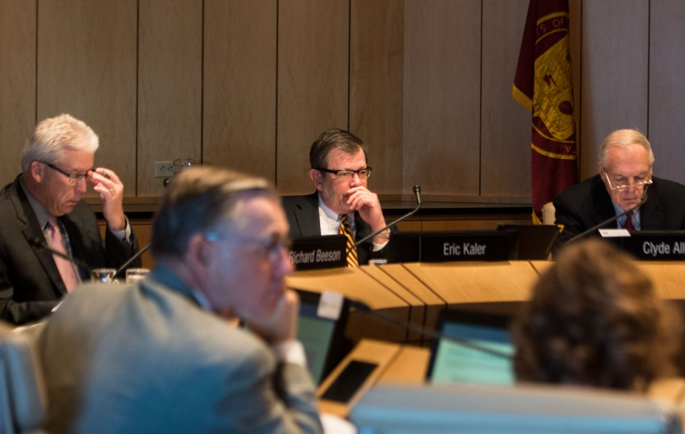 University President Eric Kaler attends the Board of Regents meeting Friday morning at the McNamara Alumni Center. The regents approved a plan for about $4 million in spending on safety initiatives this semester.