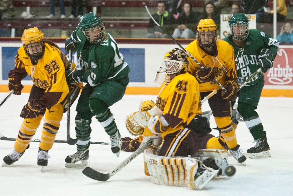 Minnesota goalie Noora Raty blocks a shot during a game against Bemidji State on Jan. 21, 2012 at Ridder Arena.