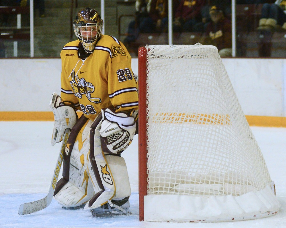 Gophers goaltender Amanda Leveille stands in the crease. Leveille took over in net for Minnesota this season.