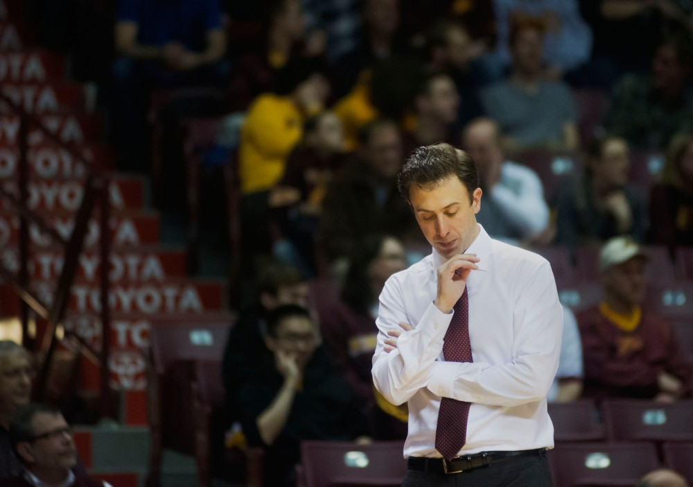 Minnesota head coach Richard Pitino after the 62-49 loss to Illinois on Wednesday evening at Williams Arena.