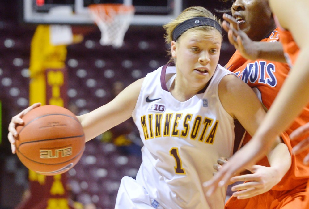 Minnesota guard Rachel Banham pushes through Illinois' defense Monday, Jan. 28, 2013, at Williams Arena.