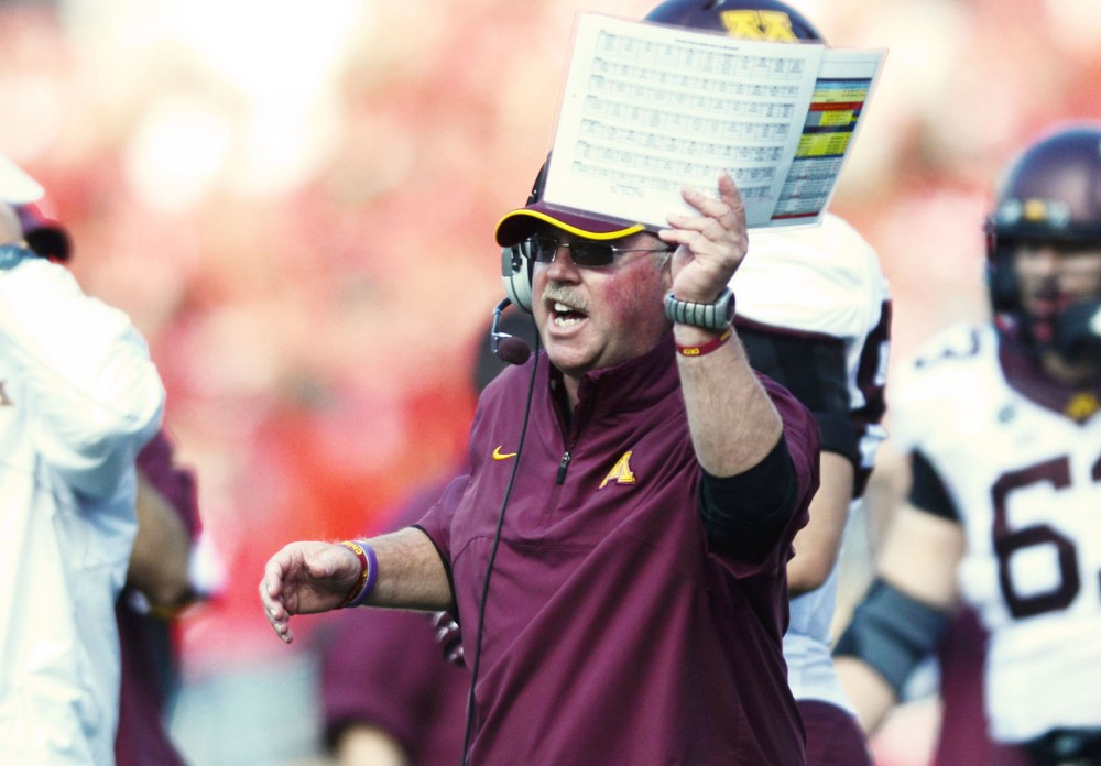 Minnesota head coach Jerry Kill expresses his discontent with a review of a Gophers touchdown against Wisconsin on Oct. 20, 2012.