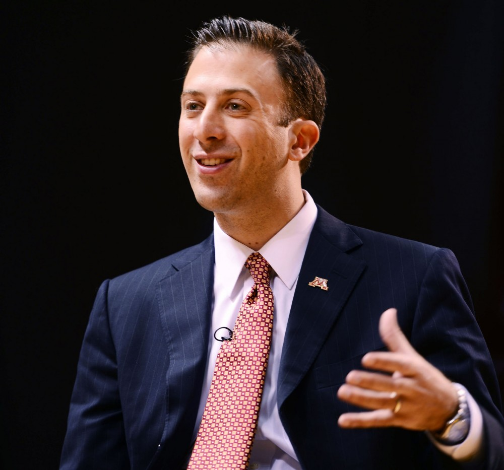 Minnesota head men's basketball coach Richard Pitino answers questions at his introductory press conference April 5, 2013, at Williams Arena.