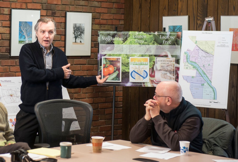 Minneapolis City Council member Cam Gordon discusses the city's long-term goals with residents and community leaders on Saturday.