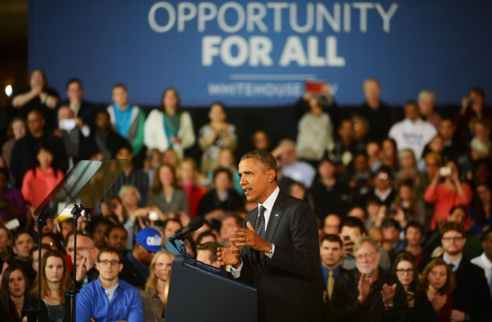 President Barack Obama announces a boost to federal funding for transportation projects across the country at Union Depot in St. Paul, Minn. on Wednesday afternoon.