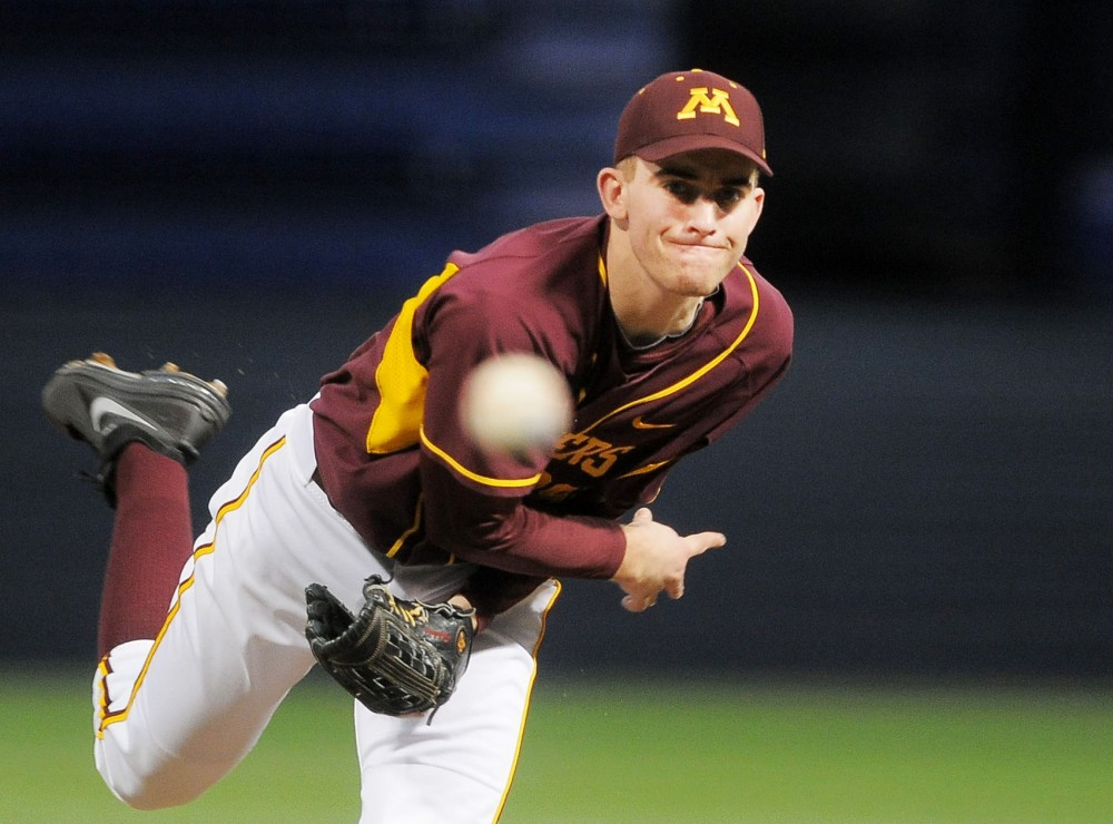 Minnesota pitcher Ben Meyer pitches against Western Illinois on Saturday, March 9, 2013, at the Metrodome.