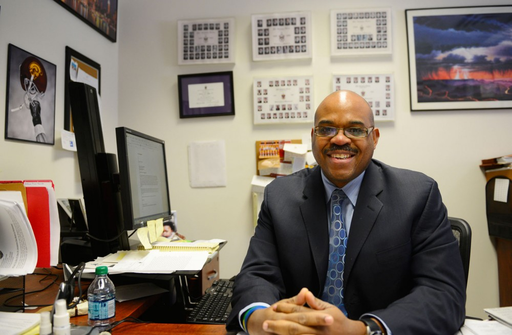 Chief of Staff to the Vice Provost for Student Affairs Amelious Whyte sits in his office on Monday afternoon.