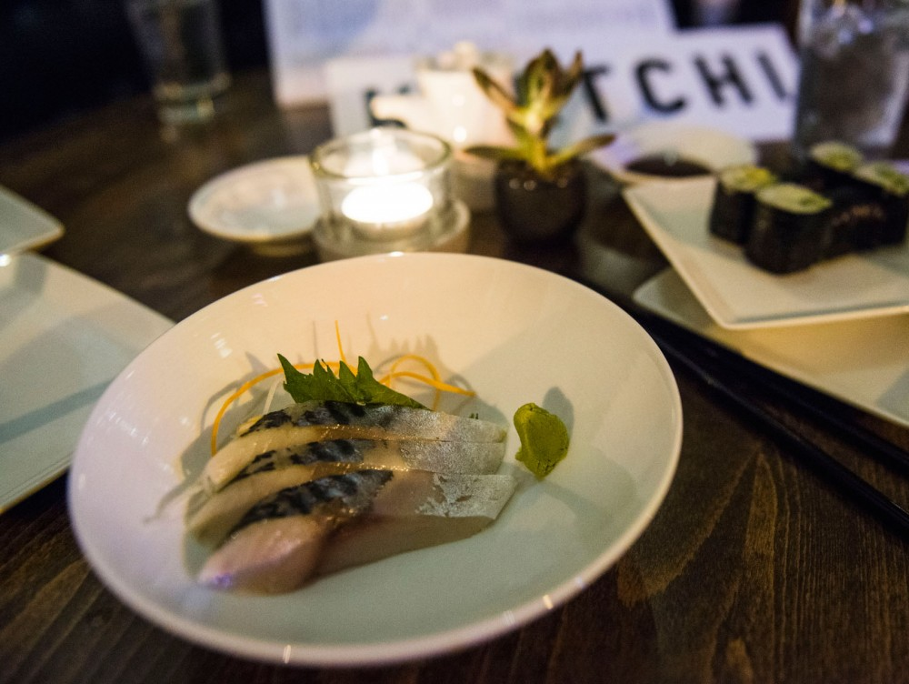 The saba, three thin slices of mackerel, is part of the menu at Kyatchi, a new sustainable sushi restaurant that recently opened in Uptown.