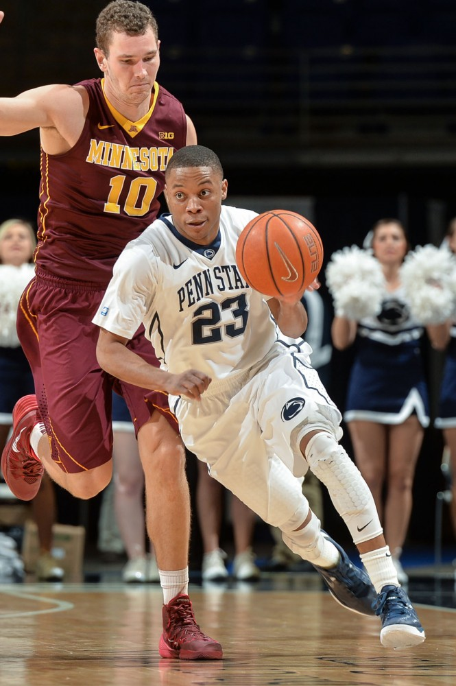 Penn State guard Tim Frazier dribbles the ball during the game against the Gophers on Wednesday, Jan. 8, 2014.