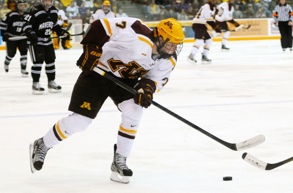 Sophomore forward Kyle Rau plays against Minnesota State on Friday at the Mariucci Arena.