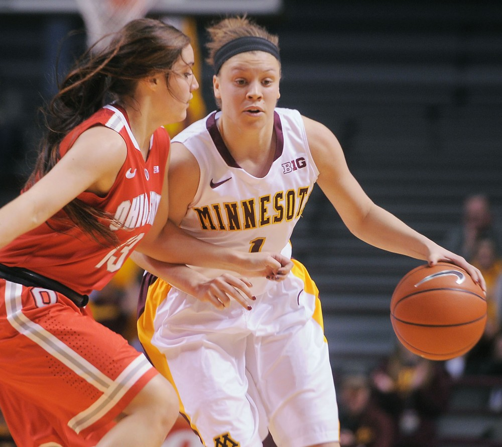 Minnesota guard Rachel Banham drives up the court against Ohio at Williams arena on Sunday.