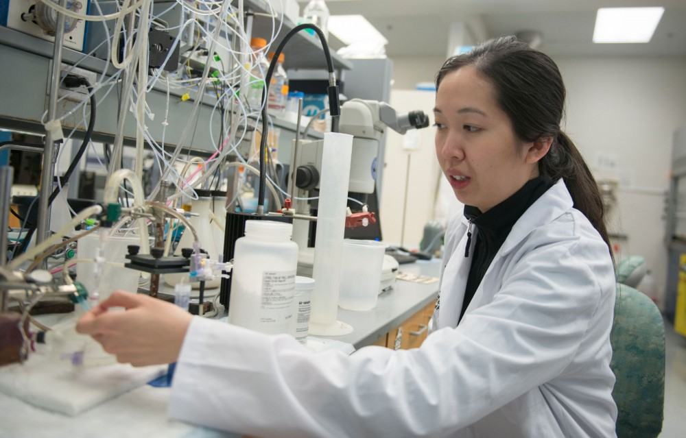 Research assistant and PhD candidate Evelyne Houang shows the laboratory equipment used to do testing with polaxamers in a laboratory at Nils Hasselmo Hall on Saturday, Mar 1, 2014. They have found that polaxamers  can repair tears in the muscle cell membranes.