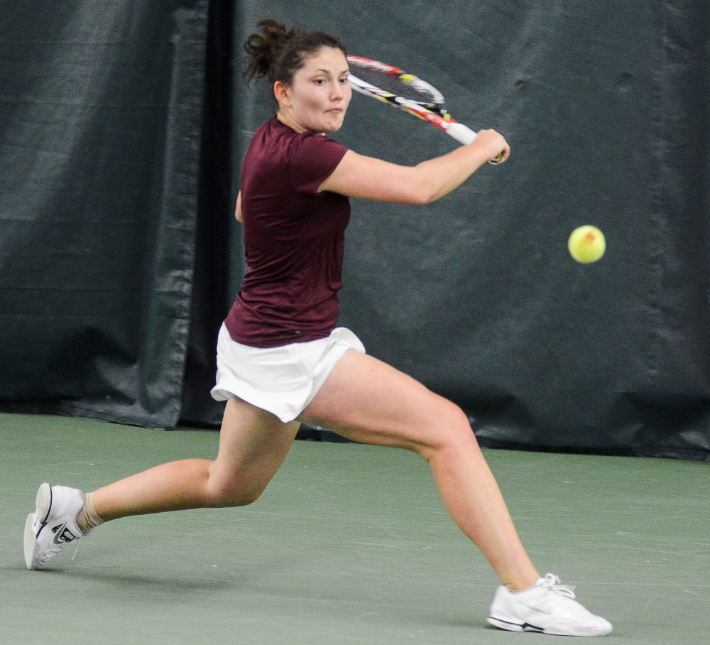 Minnesota's Tereza Brichacova plays against Ohio State on Sunday, April 7, 2013, at the Baseline Tennis Center.