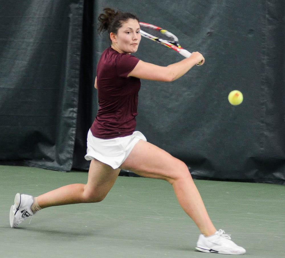 Minnesota's Tereza Brichacova plays against Ohio State on Sunday, April 7, 2013, at the Baseline Tennis Center.