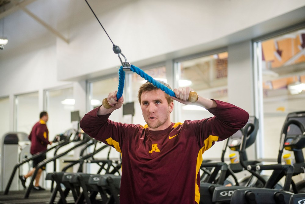Former Gophers wide receiver Derrick Engel works out at the Gibson-Nagurski Football Complex on Thursday, March 6, 2014. Engel tore his ACL during practice last fall but has been rehabbing in preparation for the 2014 NFL Draft.