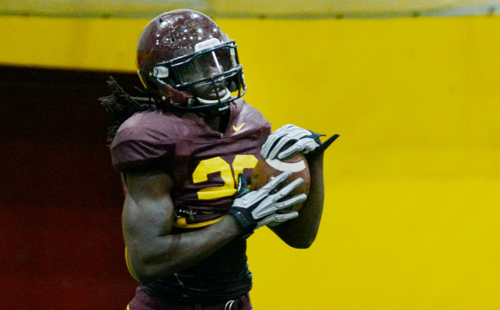 Gophers linebacker DeVondre Campbell practices at Gibson-Nagurski Football Complex on Tuesday. Campbell recorded 41 tackles and forced a fumble last season.