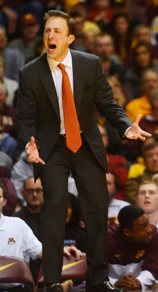 Minnesota head coach Richard Pitino reacts to a call at the game against Penn State at Williams Arena on Sunday.