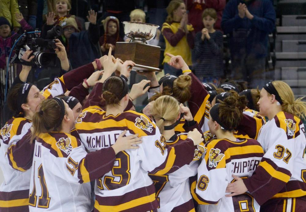 Women's gopher hockey won their third-straight WCHA Final Face-off on Saturday in Bemidji, Minn. Minnesota will begin its national title defense next weekend.