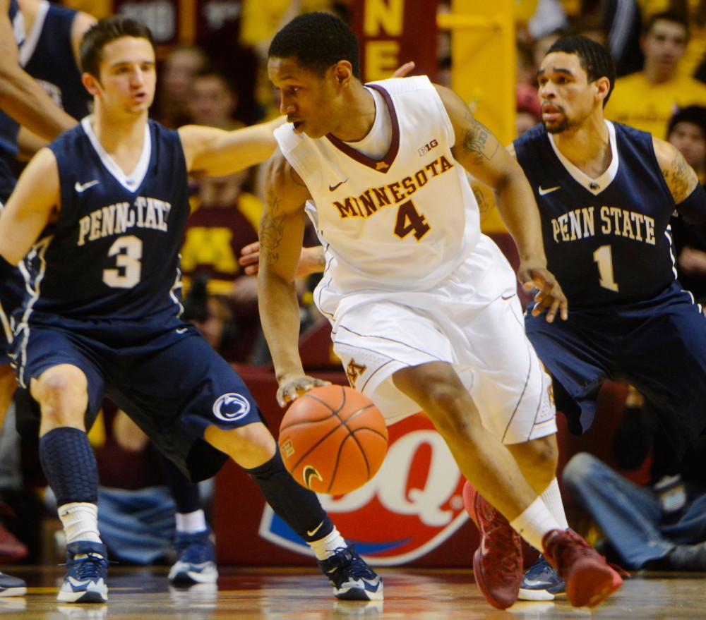 Minnesota guard DeAndre Mathieu dribbles at the game against Penn State on Sunday.
