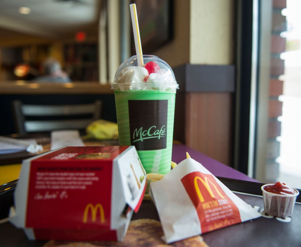 A large Shamrock Shake, loaded with 54 ingredients, from Mcdonalds.
