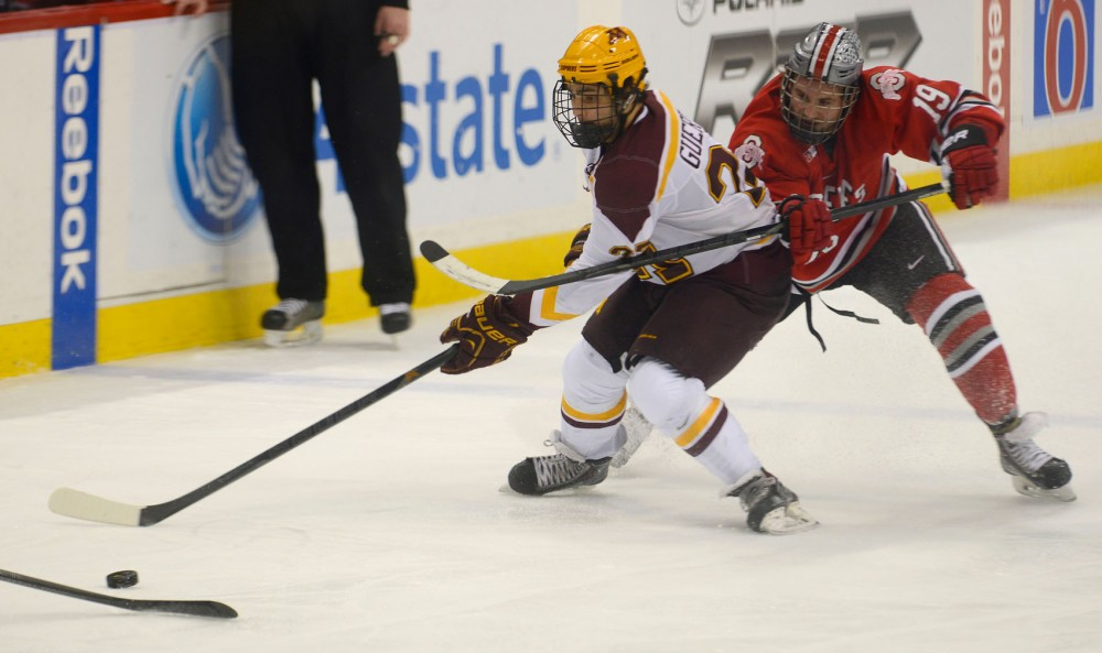 Minnesota forward Gabe Guertler skates against Ohio State at the Big Ten Men's Ice Hockey Tournament at the Xcel Energy Center in St. Paul on Friday. Minnesota went in as the tournament's top-seed team, but lost to Ohio State 3-1 in the semifinals.