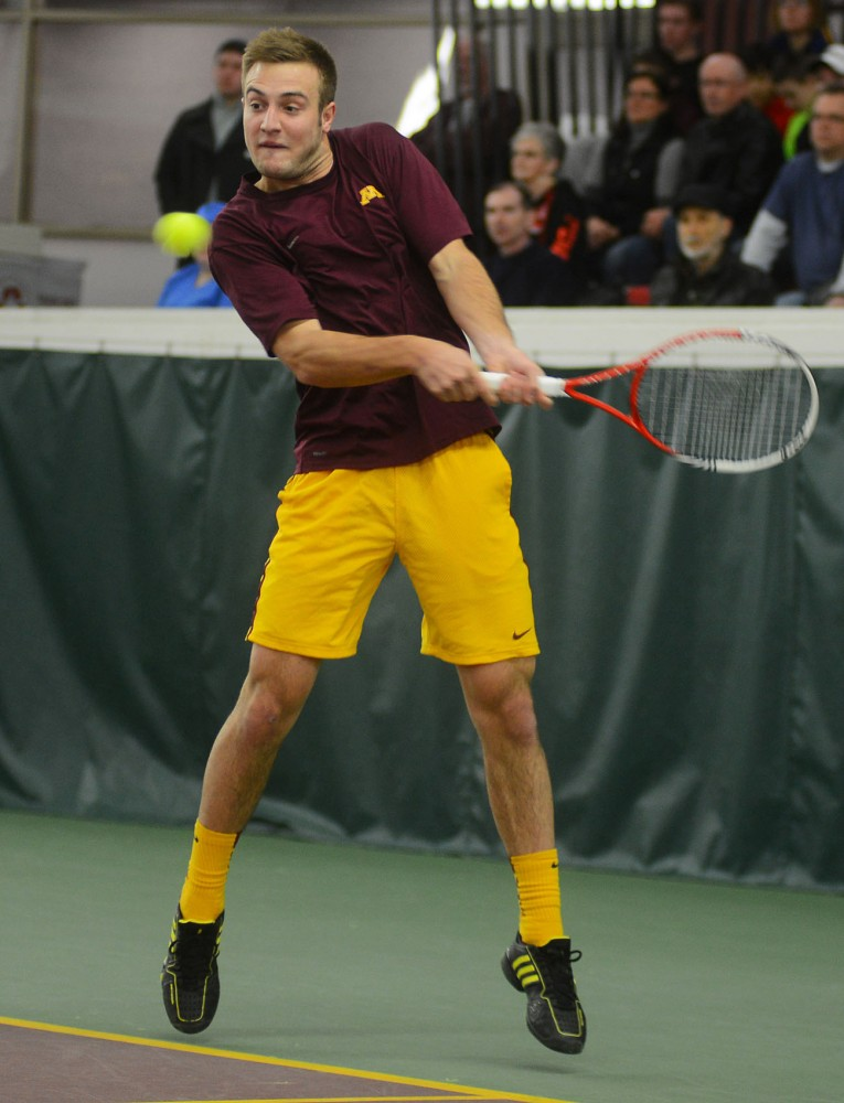 Minnesota junior Jack Hamburg plays against Nebraska at Baseline Tennis Center on Sunday during a doubles match. Doubles tandem Jack Hamburg and Mathieu Froment have reached No. 16 in the country with a nine-match winning streak this season.