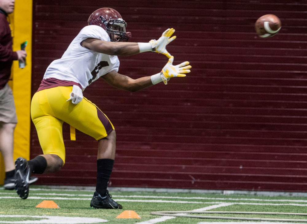 Minnesota wide receiver Donovahn Jones executes practice drills at the Gibson/Nagurski Football Complex for spring practice on Tuesday afternoon. Jones played last season after Engel's injury and will be relied upon this fall.