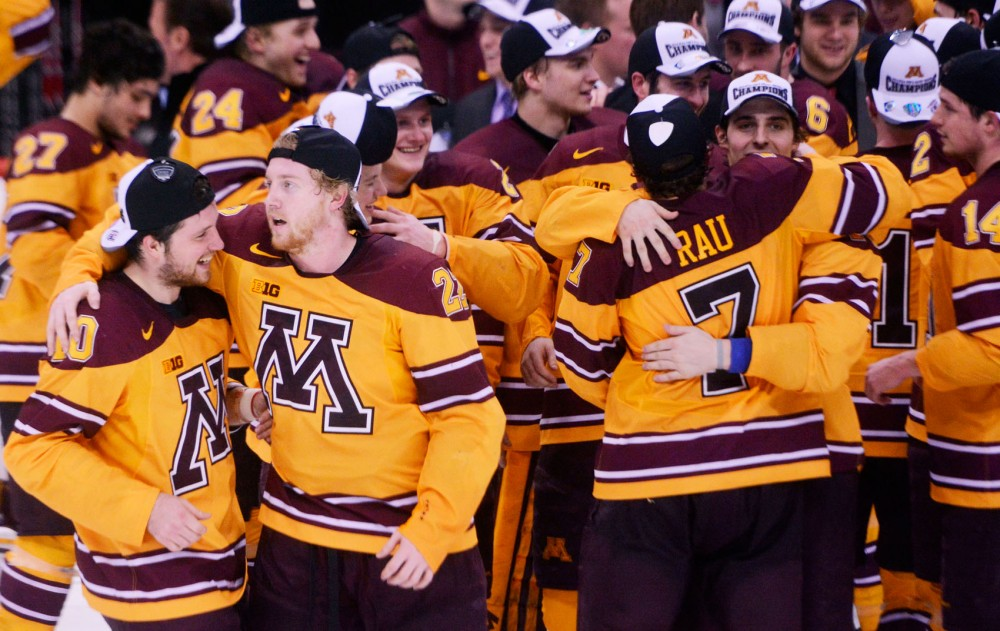 The Gophers men's hockey team beat St. Cloud State 4-0 Sunday evening at the Xcel Energy Center in St. Paul, Minn. With the win, Minnesota advanced to the Frozen Four for the second time in three years.