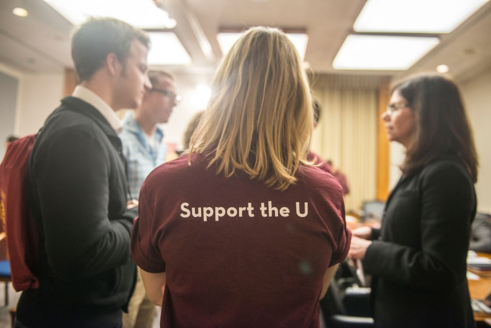 Students talk to senator Kari Dziedzic about the University's bonding bill at Support the U Day at the Minnesota Capitol in St. Paul on Thursday.