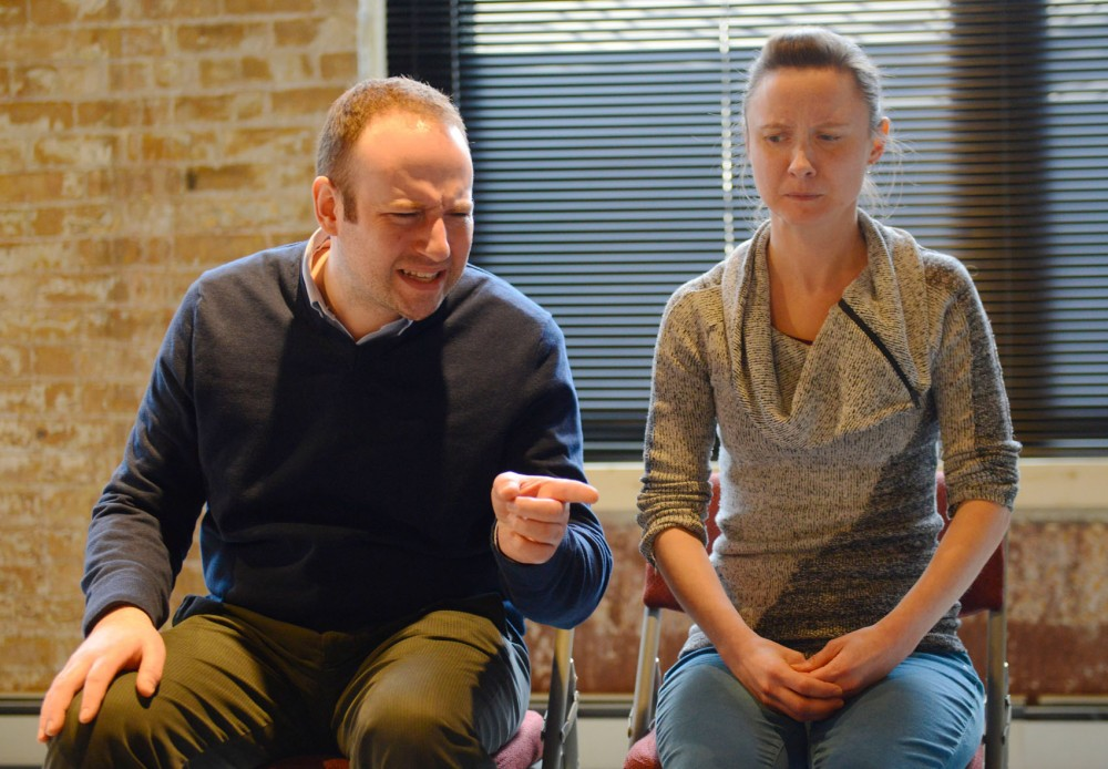 Performers Ryan Lindberg and Emily Zimmer rehearse a skit of