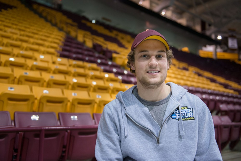 Minnesota forward Kyle Rau is a co-captain with forward Nate Condon. The Gophers will play in the Frozen Four in Philadelphia, Pennsylvania on April 10.