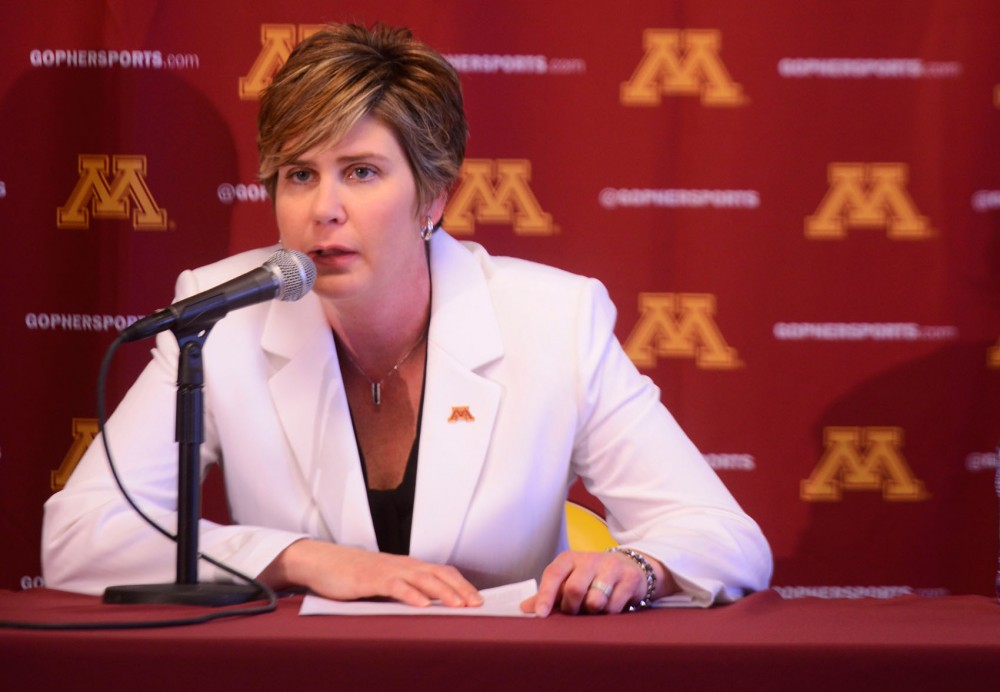 Newly hired womens basketball coach Marlene Stollings talks about her goals for the team during a press conference at Williams Arena on Tuesday.