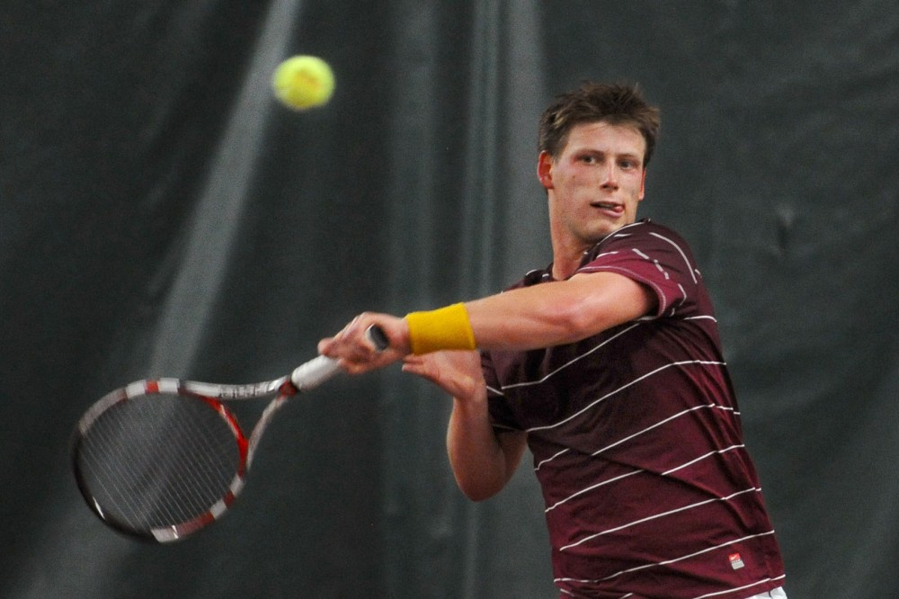 Minnesota's Leandro Toledo plays against an opponent from Drake University at the ITA Central Regional Championship on Sunday, Oct. 21, 2012.
