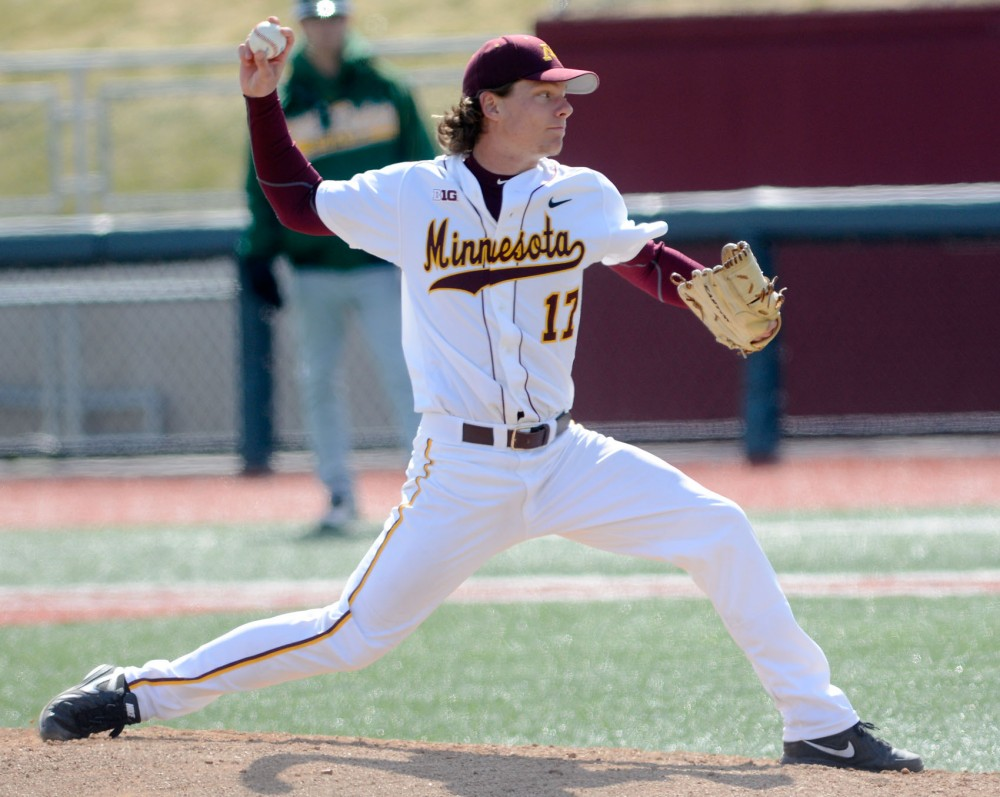 Minnesota's Brian Glowicki pitches against North Dakota State on Tuesday afternoon at Siebert Field.