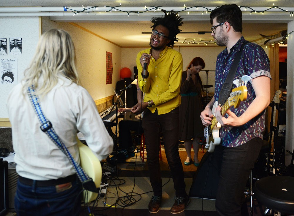 Six-piece Minneapolis band Black Diet rehearse in Minneapolis on Tuesday night. Black Diet is celebrating the release of their first album, Find Your Tambourine, on Saturday at the Hymies Record Store Day Block Party.