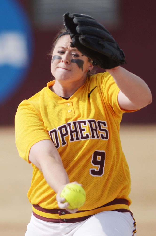 Minnesota's Sara Moulton pitches during a doubleheader against Wisconsin on April 7, 2013, at Jane Sage Cowles Stadium.