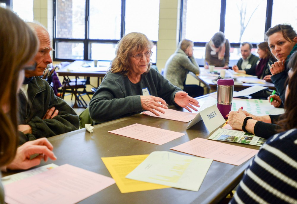 Como resident and property owner Mary Kay Dooley expresses her concerns and ideas for the community at a forum at Van Cleve Community Center on Thursday.