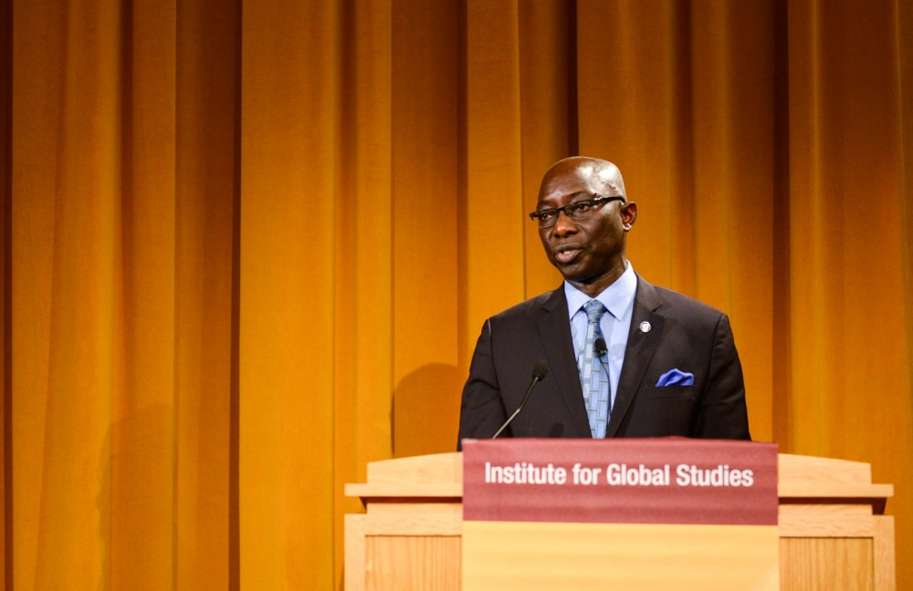 Adama Dieng, the UN secretary-general's special adviser for the prevention of genocide, gives a keynote address in Cowles Auditorium on Wednesday during a conference commemorating the 20th anniversary of the Rwandan genocide.