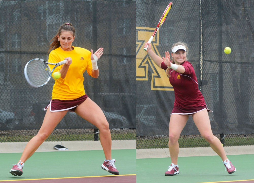 Minnesota's Julia Courter and Natallia Pintusava play against Illinois on Friday afternoon at the Baseline Tennis Center.