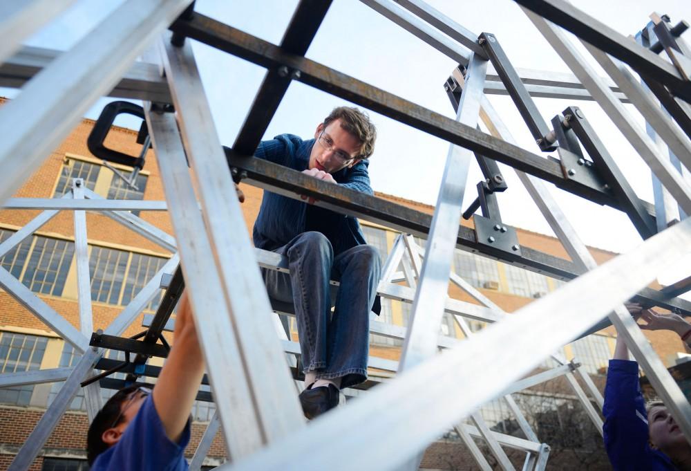 Mechanical engineering freshman Micah Lindstrom works on