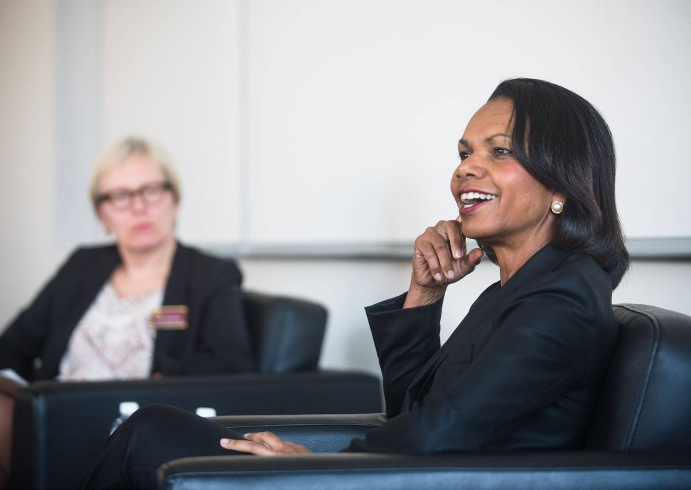 Former Secretary of State Condoleezza Rice speaks to University of Minnesota graduate students and faculty during a small group discussion Thursday afternoon in Northrop Auditorium.