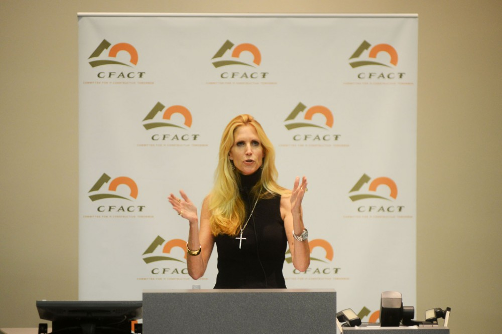 Conservative coulmist and writer Ann Coulter speeks anbout politics and other issues at Wiley Hall on Wednesday.