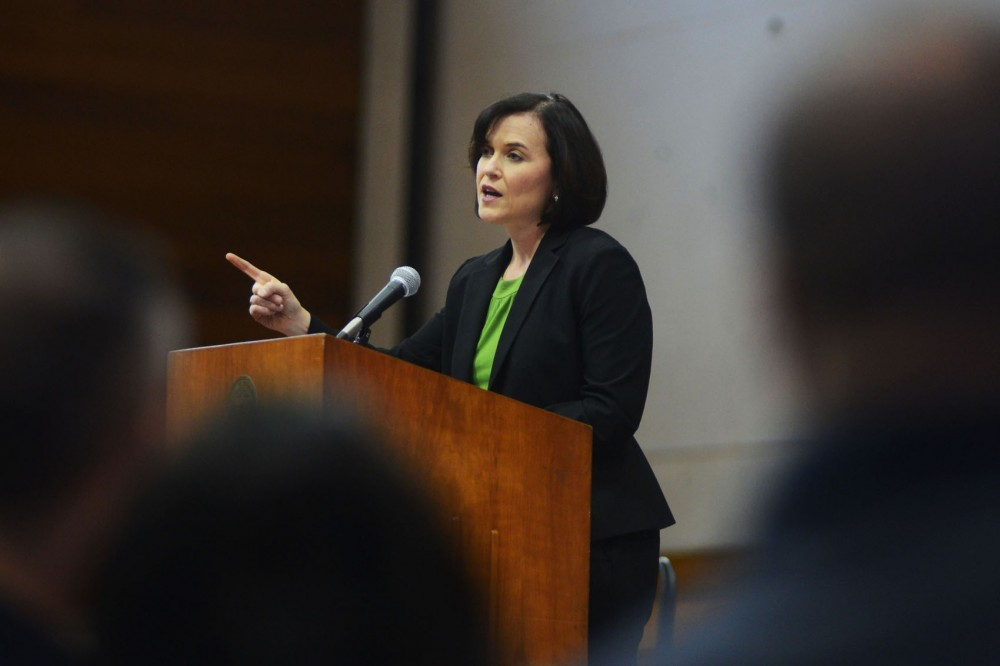 Minneapolis mayor Betsy Hodges gives her first state of the city address at the Minneapolis American Indian Center on Thursday.