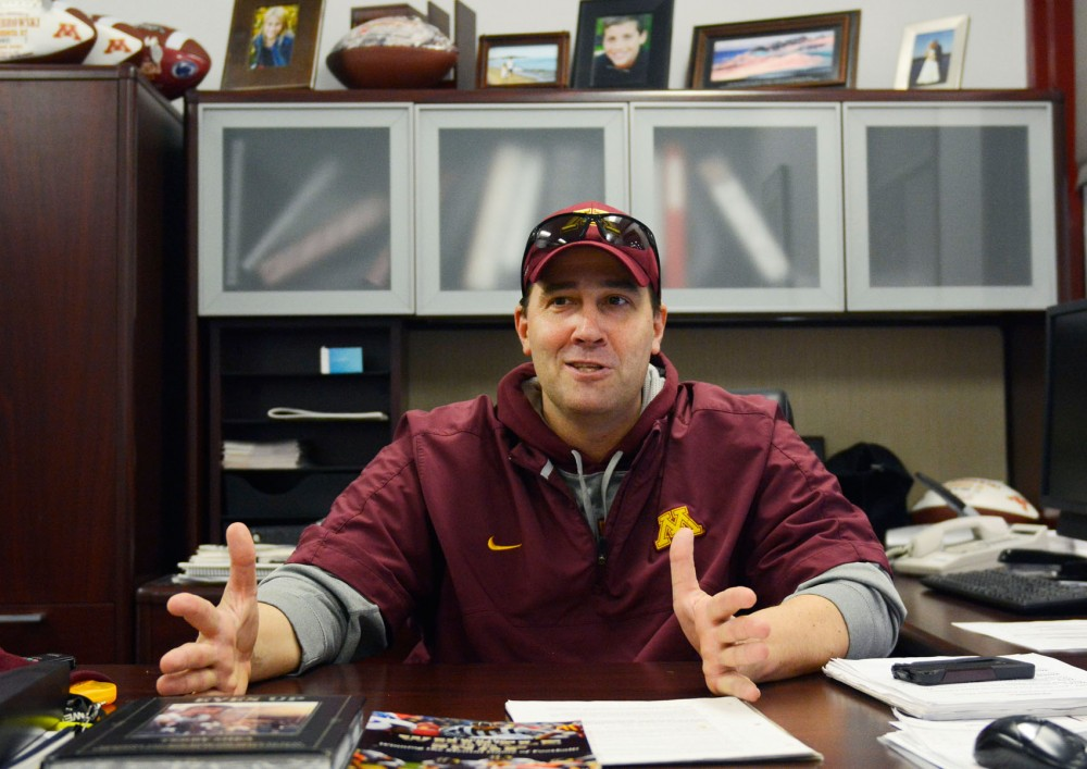 Minnesota quarterbacks coach Jim Zebrowski talks about how he coaches quarterbacks at his office in the Gibson/Nagurski Football Complex on Saturday, April 5, 2014. Zebrowski has worked with Jerry Kill's coaching staff since 2009. He has experience developing under-recruited quarterbacks into all-conference performers and Leidner is now his main focus.