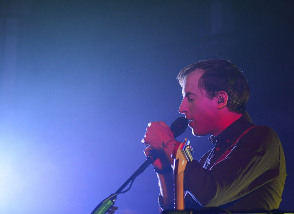 Jack Steadman of Bombay Bicycle Club performs at Varsity Theater in Dinkytown Tuesday evening.
