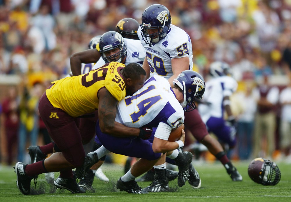 Minnesota defensive lineman RaShede Hageman sacks Western Illinois quarterback Saturday, Sept. 14, 2013, at TCF Bank Stadium.